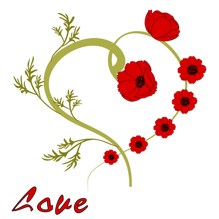 St. Valentines Day. Background with red poppies to the day of St. Valentina.
