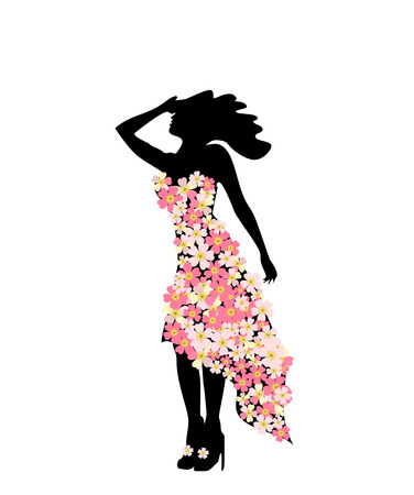 The figure of girl model in slinky dress floral festive fashion. Girl and festival of flowers.
