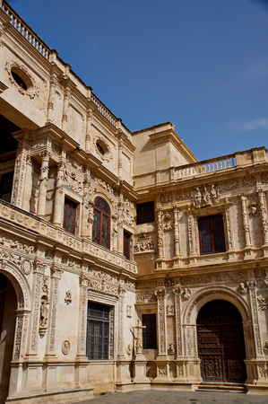 Historic buildings and monuments of Seville, Spain. Architectural details, stone facade and museums Europe. Spanish architectural styles of Gothic and Mudejar, Baroque. Ayuntamiento de Sevilla