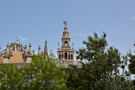 Historic buildings and monuments of Seville, Spain. Architectural details, stone facade and museums. Catedral de Santa Maria de la Sede.