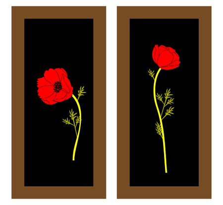 Gentle floral background with red poppies. Paintings and still life with red poppies flowers. Patterns. 일러스트