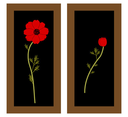 Gentle floral background with red poppies. Paintings and still life with red poppies flowers. Patterns. Illustration