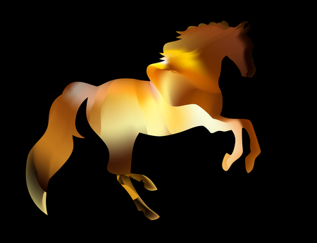 greeting card and icon design. Fiery silhouette of an Arab stallion. Vector illustration. Illustration