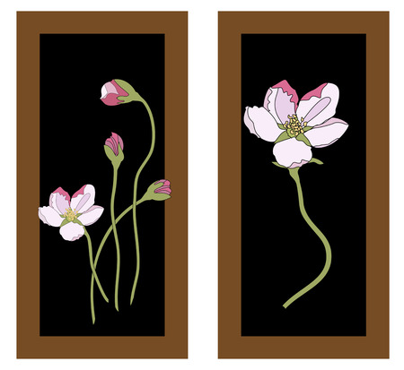 Pink cherry blossom sakura flowers in a Japanese style. Spring background. Freshness in nature. Illustration