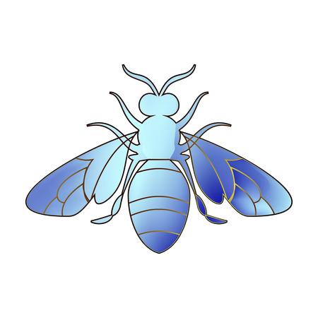 Golden honey bee uterus of summer day on white background. Banco de Imagens - 97587928