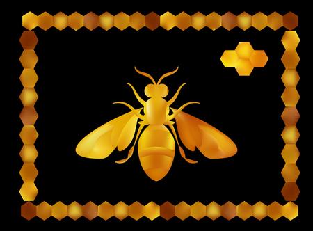 Golden honey bee uterus of summer day on white background. Banco de Imagens - 97587940