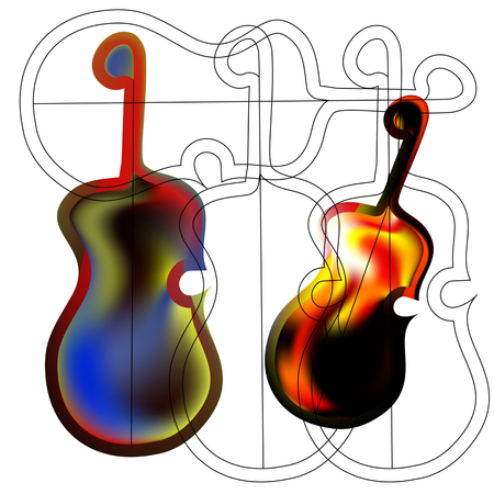 Art object stylized image of the guitar in the Gothic style. Fiery rock guitar.