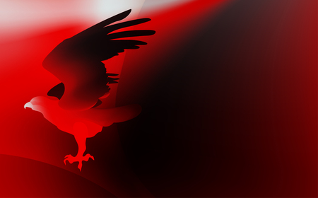 Fire red bird eagle in flight as a symbol of power and freedom. Illustration