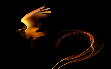 Fire bird eagle in flight as a symbol of power and freedom. Stock Photo