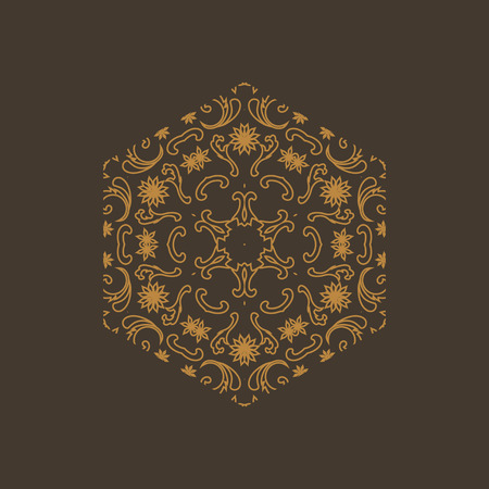 Constructive geometric pattern in shades of gold colors. Emotional design with development of prospects.