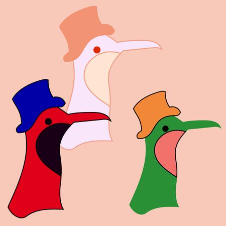 A cartoon bird with a big beak and a hat. Иллюстрация