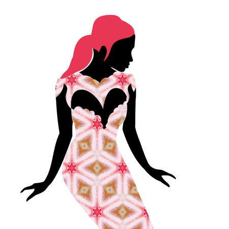 Young beautiful woman presents fashion style. Sexy girl model in dress design Illustration
