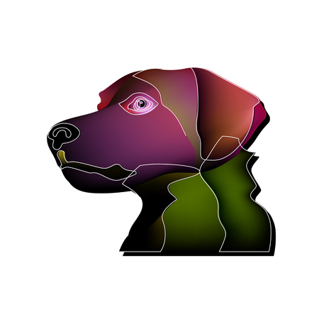 Toy fantastic portrait of a dog. Dog head closeup mesh Illustration