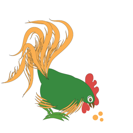 Cartoon cock with a beautiful curvy tail. Vector illustration with elegant patterns. Funny and smart cock. Illustration