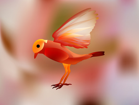 enchanted world of fantastic fairy tale. Magic bird of happiness in Wonderland.