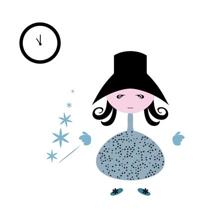 Christmas Cartoon doll with magic wand on new year and Christmas night. Childrens magic pattern. Ilustração