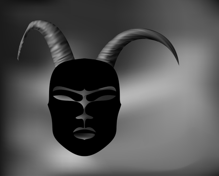Horned mask ritual antique in African style. Black mask with Golden horns.