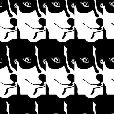 Silhouette cartoonish big black and white dog. The dog Northern with blue eyes. sled dogs