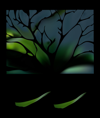 Dark emerald green tree precious  with soft delicate folds. Illustration