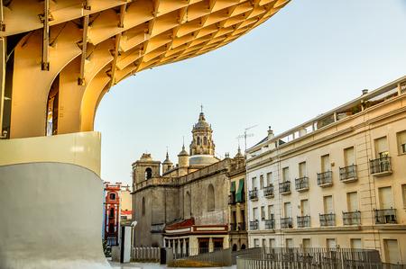 Historic buildings and monuments of Seville, Spain. Architectural details, stone facade and museums Europe. Setas de Sevilla. Plaza de la Encarnacion Editorial