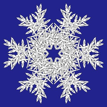 Abstract Christmas gorgeous festive snowflake pattern on blue