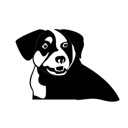 Silhouette of funny playful little black and white puppy border collie. Illustration