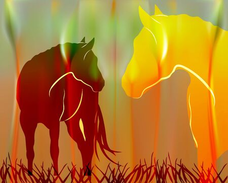 Fabulous Sunny background with cartoon horse. Spring meadow in Golden rays of sun background.