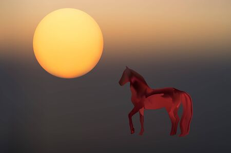Abstract mystical background with unusual animals at sunset. Fantastic images and symbols in painting for backgrounds and screensavers. Horse  イラスト・ベクター素材