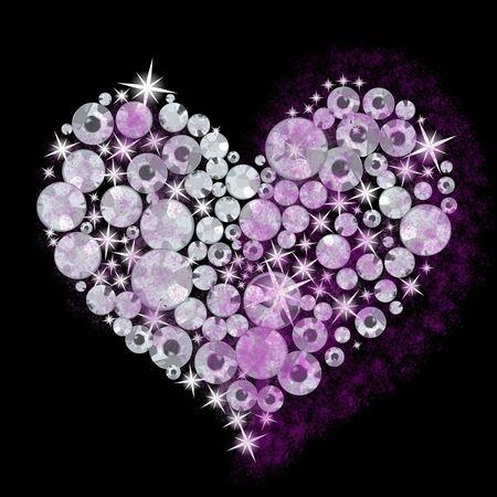 Luxury diamond crystal heart pattern for Valentine's day. 스톡 콘텐츠
