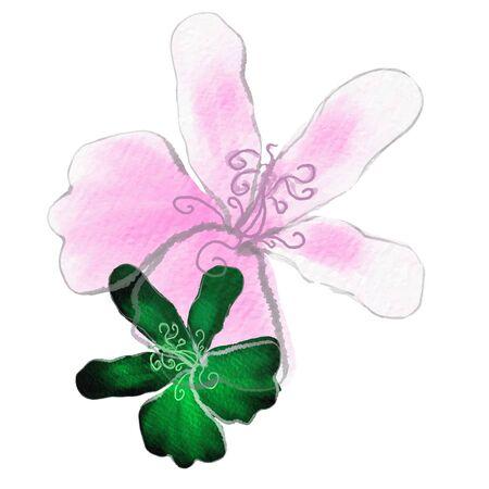 Watercolor pattern. Pink flower petal. Vectorized watercolor drawing. Pink flowers