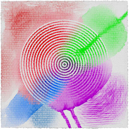 Round grunge art background. Drawn rings abstract watercolor background. Color summer spirals