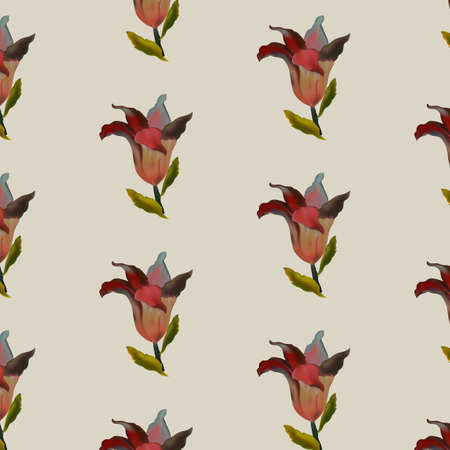 Photo realistic vector beautiful red lily in vintage style. Vintage antique red background with lilies. seamless pattern