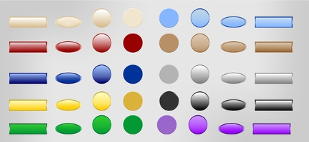 A set of buttons in different colors and different shapes Vector