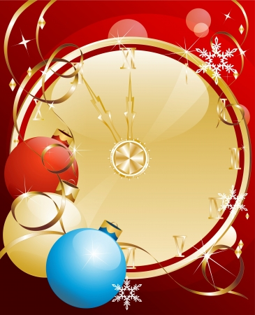 Purple christmas background with clock dial and decorations Stock Vector - 16916480