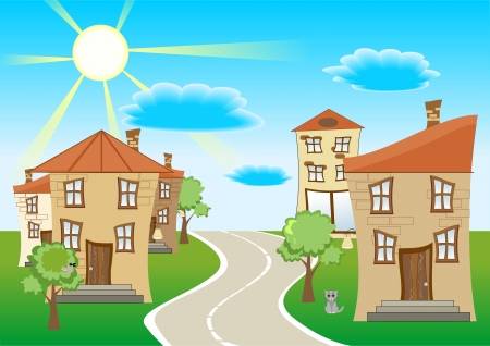 without window: Vector illustration of a street a few houses, the road between the houses and pets on a background of blue sky and clouds