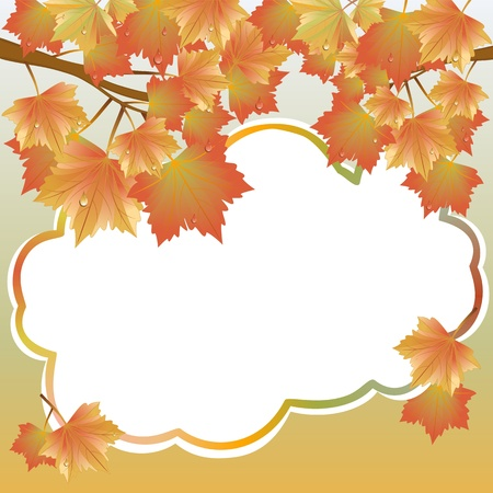 Autumn background with maple leaves and the background labeling Stock Vector - 17658537