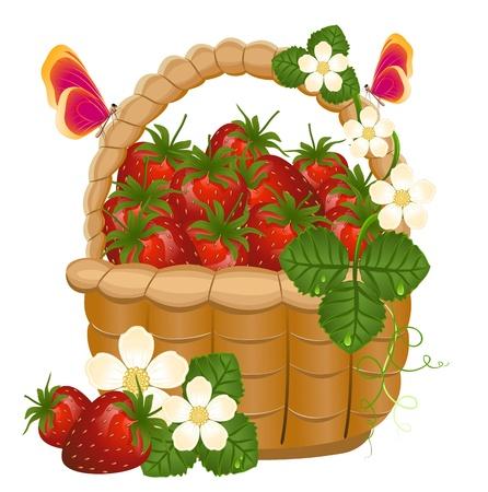 Panier en osier plein de fraises et de fleurs