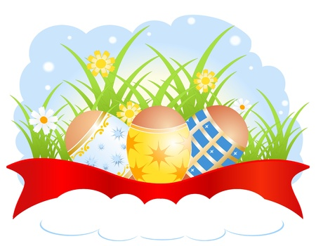 Illustration for Easter with eggs and flowers Stock Vector - 17966747