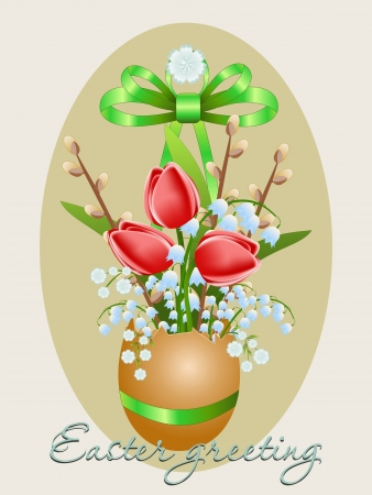 Vector Easter card with eggs and spring flowers