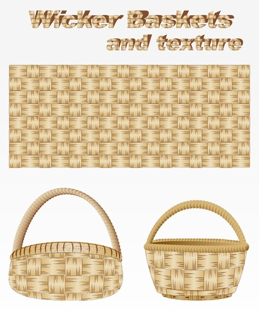 wicker basket: Wicker basket and texture Illustration