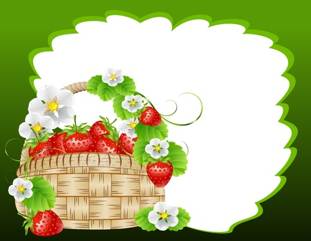 frame with a basket of strawberries surrounded by flowers Vector