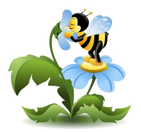 Weinig bee op blauwe bloem