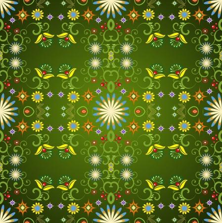 substrate: Verde de fondo sin fisuras con los elementos florales Vectores