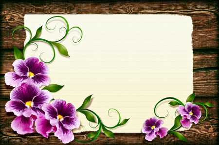 Pansies on a wooden background  photo
