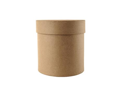 papiermache: Round box on a white background