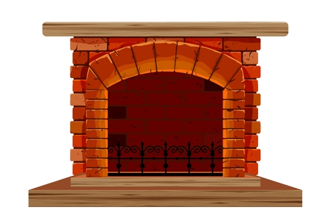 The old brick fireplace on a white background