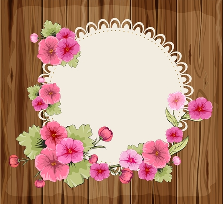 petunia: Beautiful flowers on a round napkin and wooden background Illustration