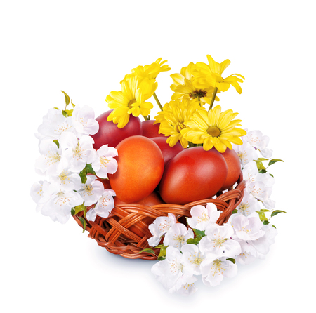 painted eggs: Painted eggs surrounded by flowers