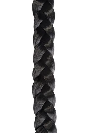 長い黒髪を三つ編み、白い背景の上を編む 写真素材