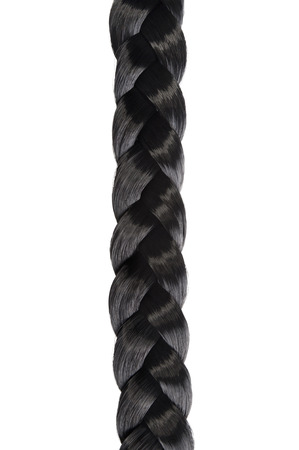 long black hair braid,plait on white background